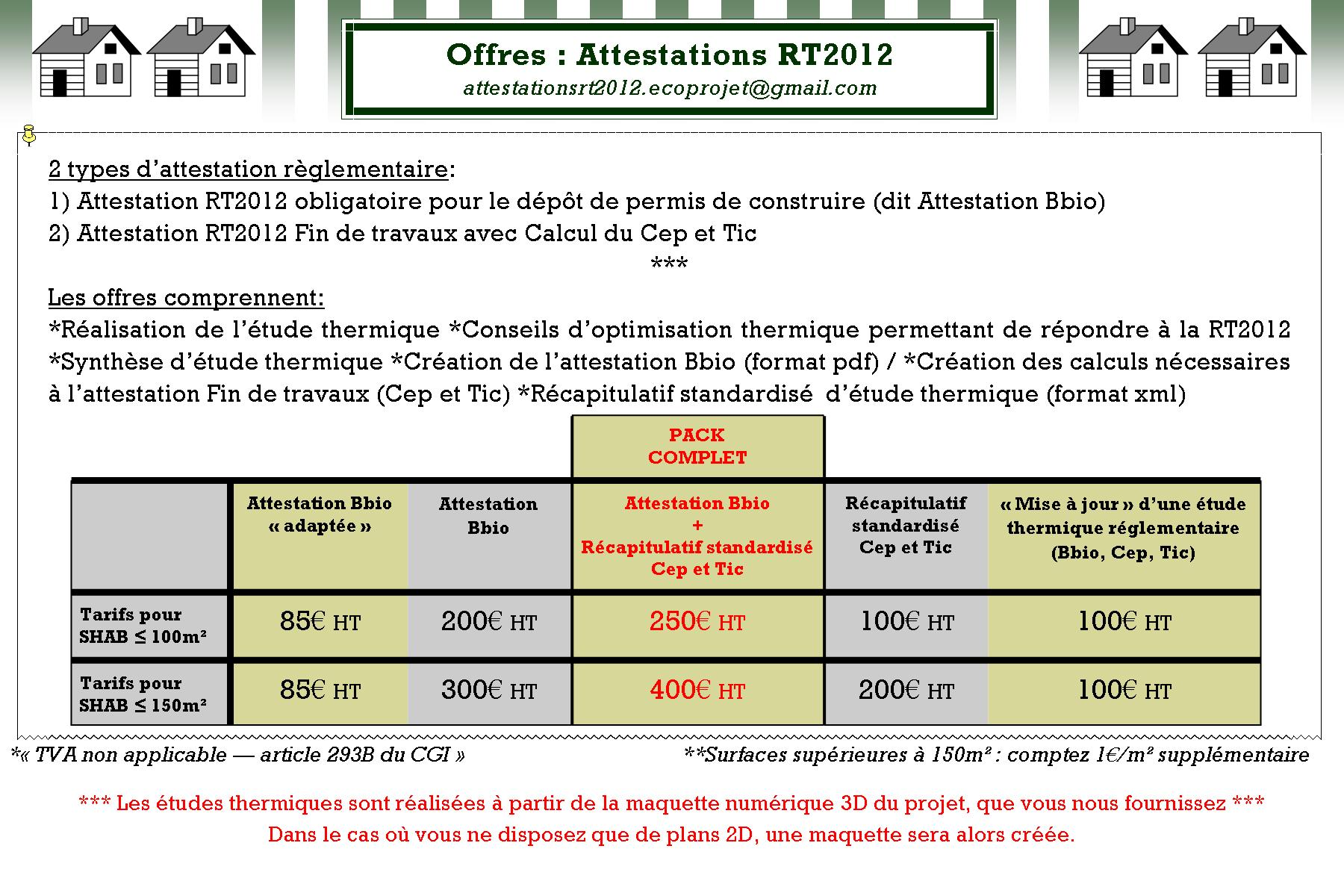 Tarifs 2014 Attestations RT2012